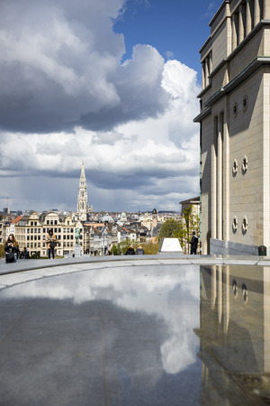 Brussels, Belgium - April, 17 2016:  View from Mont des Arts with on the tower of the famous cityhall Editorial