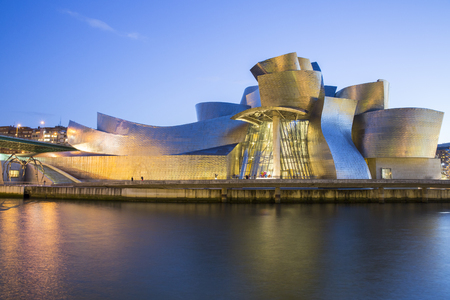 basque country: Bilbao, Spain - January 29, 2016: night view of modern and contemporary art Guggenheim Museum, designed by American architect Frank Gehry and inaugurated in October 1997.