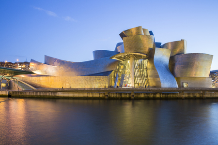 Bilbao, Spain - January 29, 2016: night view of modern and contemporary art Guggenheim Museum, designed by American architect Frank Gehry and inaugurated in October 1997.