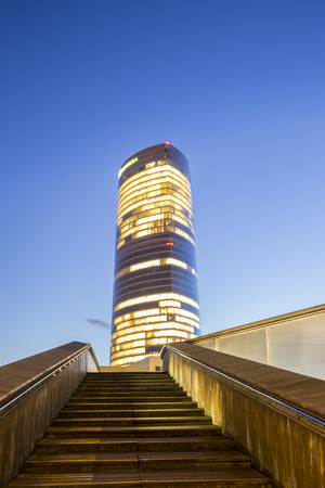 Bilbao, Spain - January, 29 2016: Iberdrola tower at night. This skyscraper was designed by architect Cesar Pelli is the highest building in Basque Country. Editorial