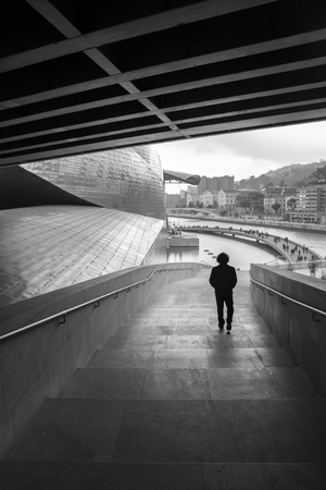 bilbo: BILBAO, SPAIN - MARCH 19, 2015: The Guggenheim Museum in Bilbao during the Niki de Saint Phalle exhibition (27 – June 7, 2015) , Biscay, Basque Country, Spain
