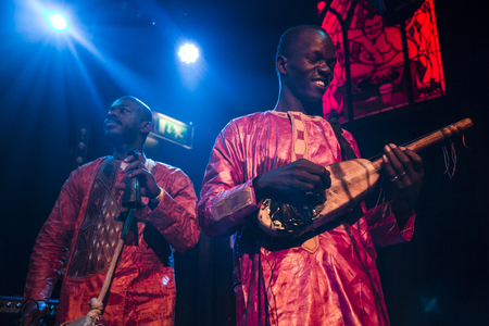 instrumentalist: Amsterdam, The Netherlands - February 17, 2016: concert of african band from Mali BKO Quintet at Paradiso Bitterzoet concert hall.