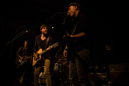 band bar: Amsterdam, The Netherlands - 18 March, 2016: concert of Swiss rock band 77 Bombay Street at venue Paradiso