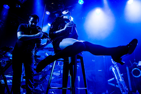 Amsterdam, The Netherlands - 16 March, 2016: concert of French electro swing band Caravan Palace at venue Melkweg Stock Photo