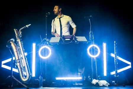 Amsterdam, The Netherlands - 16 March, 2016: concert of French electro swing band Caravan Palace at venue Melkweg Editorial