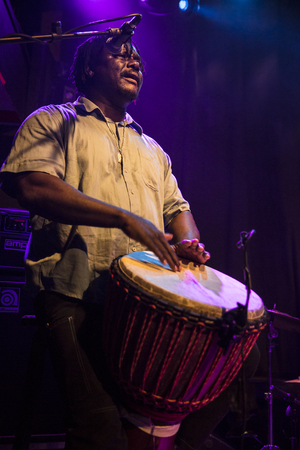 quintet: Amsterdam, The Netherlands - February 17, 2016: concert of african band from Mali BKO Quintet at Paradiso Bitterzoet concert hall.