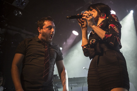 march band: Amsterdam, The Netherlands - 16 March, 2016: concert of French electro swing band Caravan Palace at venue Melkweg Editorial