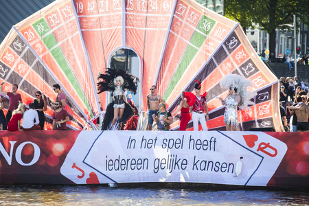 Amsterdam, the Netherlands - August 06, 2016: participants in the annual event for the protection of human rights and civil equality - Gay Pride Parade on the canals during Euro Pride 2016