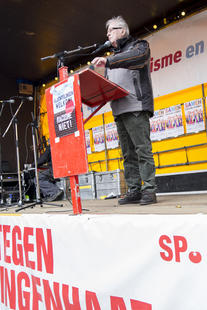 public demonstration: Amsterdam, The Netherlands - February 6,2016: Speech from Max van den Berg from Auschwitz comity at public demonstration Refugees welcome, racism not protesting against racism and islamophobia. Editorial