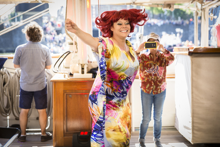 Amsterdam, the Netherlands - August 06, 2016: 3 Lady Miss Kier former singer of Deee Lite animating the party at annual event Gay Pride Parade, Euro Pride 2016