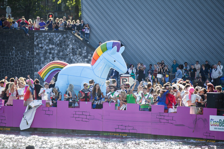 Amsterdam, the Netherlands � August 06, 2016: participants in the annual event for the protection of human rights and civil equality - Gay Pride Parade on the canals during Euro Pride 2016