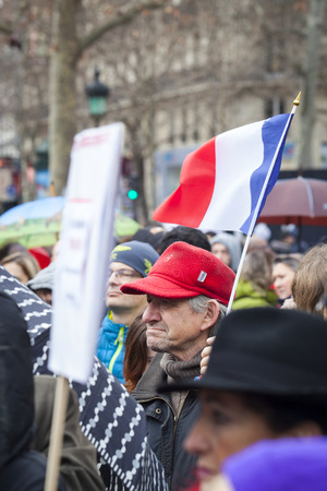 PARIS, FRANCE – January 10, 2016: ceremony to commemorate victims of the bombing and shooting rampage, commemoration of Charlie Hebdo terrorist attack and of Marches Republicaines demonstration