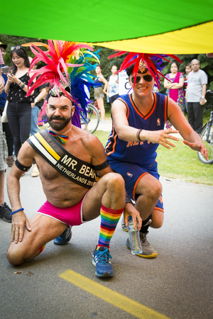Amsterdam, the Netherlands – July 23, 2016: Pride Walk, demonstration parade from Vondelpark to Dam Square during Pink Saturday Gay Euro Pride celebrations Editorial
