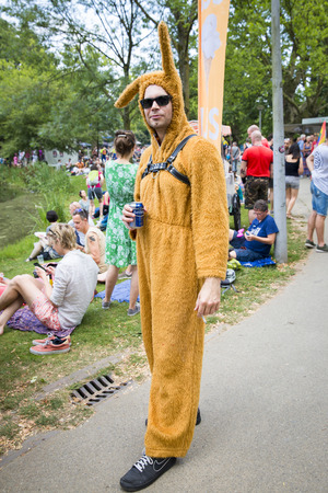 Amsterdam, the Netherlands - July 23, 2016: man dressed as a brown rabbit  in the Vondelpark for Pink Saturday 2016 Gay Euro Pride celebrations Editorial