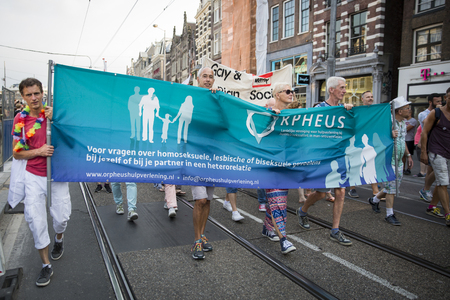 identidad cultural: Amsterdam, the Netherlands - July 23, 2016: Pride Walk, demonstration parade from Vondelpark to Dam Square during Pink Saturday Gay Euro Pride celebrations