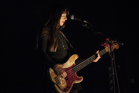 rythm: Amsterdam, The Netherlands - 27 November 2016: Kim Deal, bass player of American alternative indie rock band The Pixies, is performing at Heineken Music Hall Stock Photo
