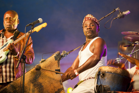 Amsterdam, The Netherlands - July, 5 2015: concert of Congolese band Kasai Allstars during Amsterdam Roots Open Air, a cultural festival held in Park Frankendael on 05072015