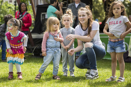 Amsterdam, The Netherlands - July, 3 2016: dance workshop with children at Amsterdam Roots Open Air, free public cultural festival held in Oosterpark