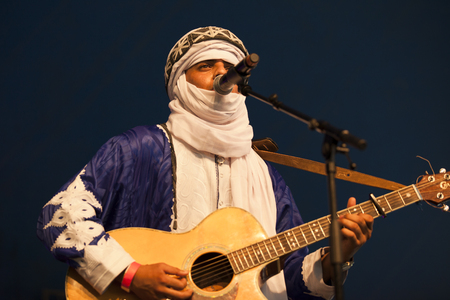 Amsterdam, The Netherlands - July, 5 2015: concert of world music Moroccan band Generation Taragalte - Cultural caravan for peace - at Amsterdam Roots Open Air, cultural festival held in Park Fraekendael