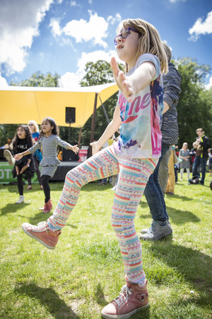 held: Amsterdam, The Netherlands - July, 3 2016: dance workshop with children at Amsterdam Roots Open Air, free public cultural festival held in Oosterpark