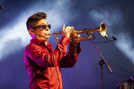 Amsterdam, The Netherlands - July, 5 2015: during the concert of Colombian band LA-33 - during Amsterdam Roots Open Air,  cultural festival held in Park Frankendael on 05072015