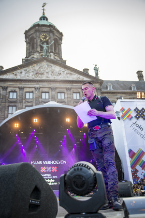 hans: Amsterdam, the Netherlands - July23, 2016: opening party on Dam square during Pink Saturday celebrations of the Gay EuroPride, speech of Organisor of EuroPride Amsterdam 1994, Hans Verhoeven