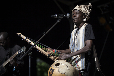 Amsterdam, The Netherlands - July, 3 2016: concert of world music African band Baba Commandant and Mandingo Band at Amsterdam Roots Open Air, free public cultural festival held in Oosterpark