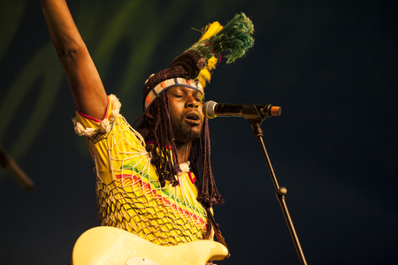 Amsterdam, The Netherlands - July, 5 2015: concert of Haitian band The Chouk Bwa Libete;during Amsterdam Roots Open Air, a cultural festival held in Park Frankendael on 05072015 Editorial