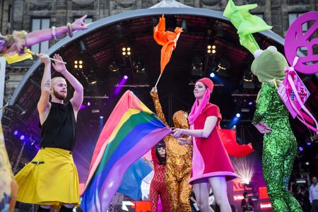 Amsterdam, the Netherlands – July23, 2016: opening party on Dam square during Pink Saturday celebrations of the Gay EuroPride Editorial