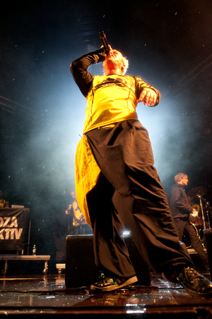 """Traena, Norway - July 12: during the concert of the Bosnian band """"Dubioza Kollektiv"""" at the Traenafestival, music festival taking place on the small island of Traena in Norway. Editorial"""