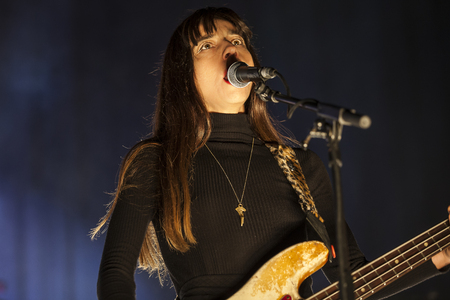 Amsterdam, The Netherlands - 27 November 2016: Kim Deal, bass player of American alternative indie rock band The Pixies, is performing at Heineken Music Hall Editorial