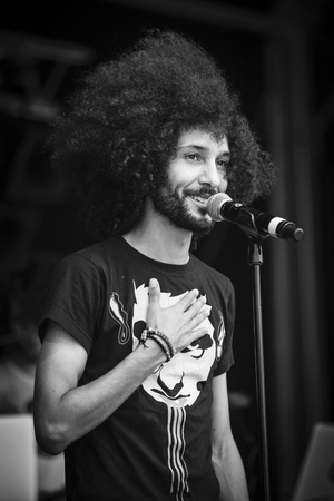 Amsterdam, The Netherlands - July, 3 2016: concert of alternative Electro-Hip Hop Moroccan band N3rdistan at Amsterdam Roots Open Air, free public cultural festival held in Oosterpark