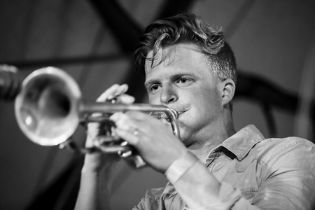 Traena, Norway - July 11 2014: during the concert of the Norwegian experimental jazz band Pixel  at the Traenafestival, music festival taking place on the small island of Traena