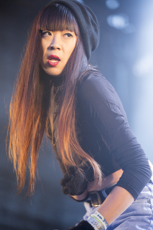 grime: Traena, Norway - July 12 2014: during the concert of the Danish electro-rap singer Linkoban at the Traenafestival, music festival taking place on the small island of Traena