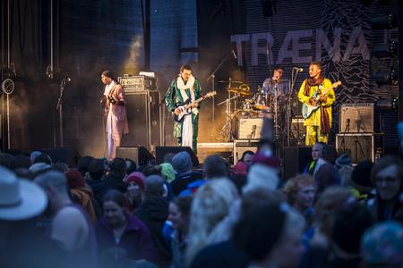 lybia: Traena, Norway - July 10 2015: concert of rock blues world music Nigerien Tuareg artist Omara Bombino Moctar at Traenafestival, music festival taking place on the small island of Traena Editorial