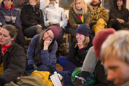 wallace: Traena, Norway - July 10 2015: people attenting to the reading of Lee, myself and I from by Wyndham Wallace, in the Traena chapel, at Traenafestival, music festival taking place on the small island of Traena