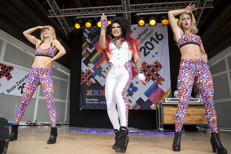 bisexual women: Amsterdam, the Netherlands – July23, 2016: Pink Saturday Gay Euro Pride celebrations in Vondelpark with show of drag queen Donna Ray Jones