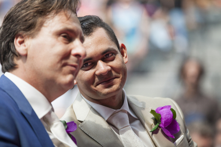 Amsterdam, the Netherlands – July 23, 2016: wedding ceremony of Lucien Spee, director from Amsterdam Gay Pride  association, and Victor at Vondelpark during Pink Saturday Gay Euro Pride celebrations
