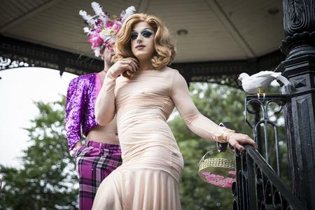 bisexual women: Amsterdam, the Netherlands - July23, 2016: Drag queen at Pink Saturday Gay Euro Pride celebrations in Vondelpark