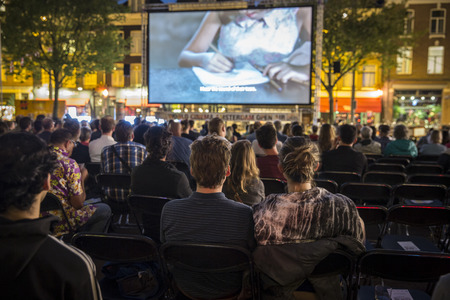 Amsterdam, The Netherlands - August 20 2015: open air screening of Colombian film Todos se van at Marie Heinekein Plein, during World Cinema Amsterdam festival, a world film festival held from 14 to 23082015
