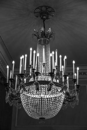saint mark square: ancient crystal chandelier