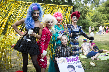 Amsterdam, the Netherlands – July23, 2016: Drag queens at Pink Saturday Gay Euro Pride celebrations in Vondelpark