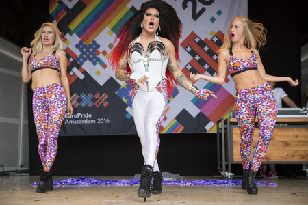 Amsterdam, the Netherlands – July23, 2016: Pink Saturday Gay Euro Pride celebrations in Vondelpark with show of drag queen Donna Ray Jones