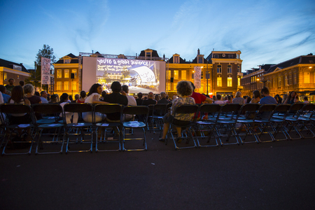 Amsterdam, The Netherlands - August 24 2016: open air screening of Argentine film Road to la Paz at Marie Heinekenplein, during World Cinema Amsterdam, a world film festival held from 18 to 27082016