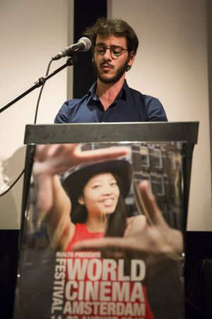 award ceremony: Amsterdam, The Netherlands - August 22 2015: award ceremony at Rialto Cinema during World Cinema Amsterdam festival, a world film festival held from 14 to 23082015. Winner was  director Sibs Shongwe for Necktie Youth.