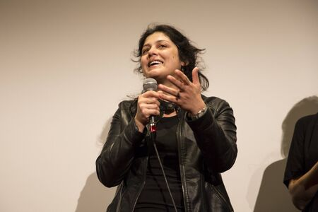Amsterdam, The Netherlands - August 20 2016: Speech of film director Ahu Ozturk at the Premiere of her film Toz Bezi (Dust Cloth) during World Cinema Amsterdam, a world film festival held from 18 to 27082016
