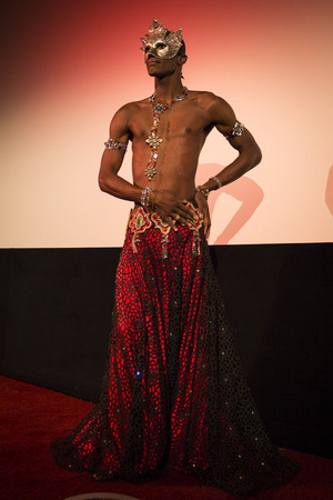Amsterdam, The Netherlands - August 20 2016: Male belly dancer performing before the film Toz Bezi (Dust Cloth) during World Cinema Amsterdam, a world film festival held from 18 to 27082016