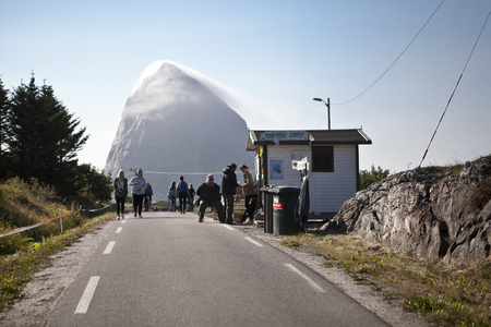 Traena, Norway - July 10 to 12 2014: entrance to the campsite, Traenafestival, music festival taking place on the small island of Traena Editorial
