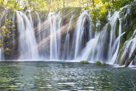 jet stream: waterfall at  Plitvice Lakes National Park, Croatia
