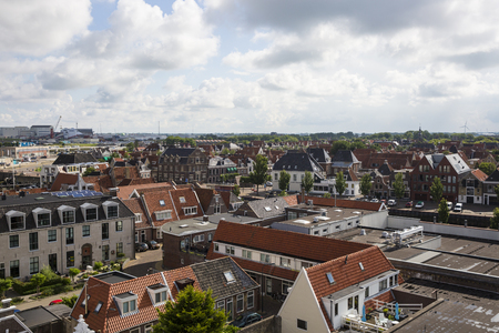 Aerial view over the orange roofs of Harlingen,, Friesland, The Netherlands